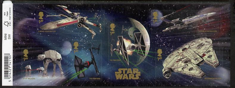 Great Britain 2015 Star Wars self adhesive m/sheet containing 6 values unmounted mint