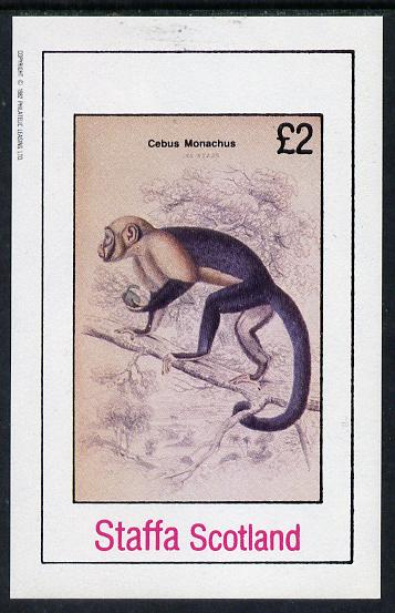 Staffa 1982 Primates (Cebus Monachus) imperf deluxe sheet (�2 value) unmounted mint